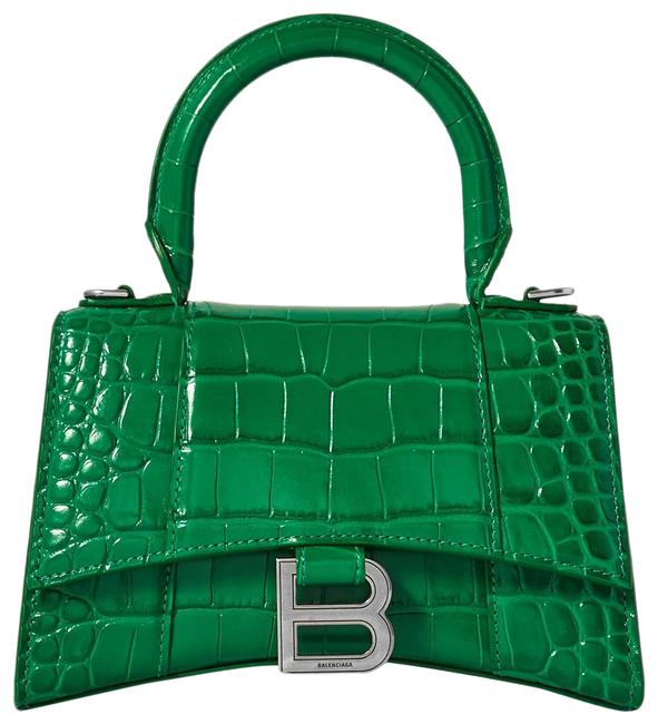 Item - XS Hourglass Croc-effect Tote Green Leather Cross Body Bag