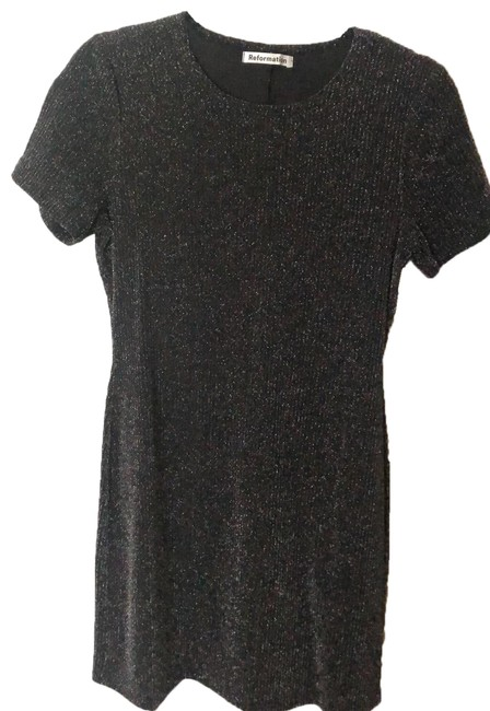 Item - Black and Silver Mid-length Night Out Dress Size 8 (M)