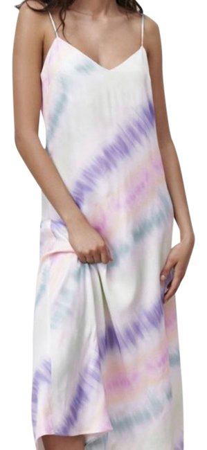 Item - Pink Purple Satin Effect Tie Mid-length Night Out Dress Size 12 (L)