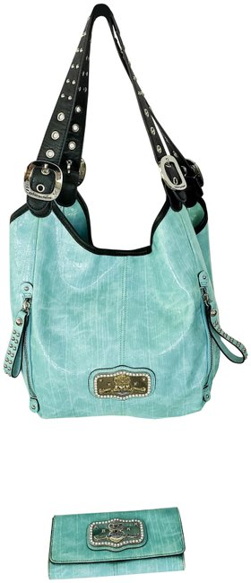Item - And Wallet Turquoise Faux Leather Shoulder Bag