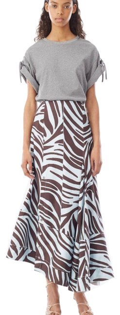 Item - Blue and Brown Zebra Pleated with Snaps Skirt Size 2 (XS, 26)