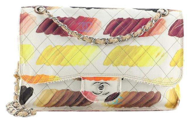 Item - Classic Flap Colorama Quilted Watercolor Jumbo Multicolor Print Yellow Canvas Shoulder Bag