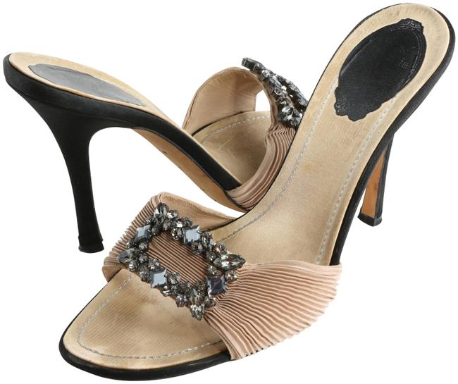 Item - Brown/Black Crystal-embellished Open Sandals Size EU 39 (Approx. US 9) Narrow (Aa, N)