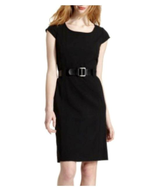 Item - Black Cap Sleeve Belted Structured Mid-length Work/Office Dress Size 16 (XL, Plus 0x)