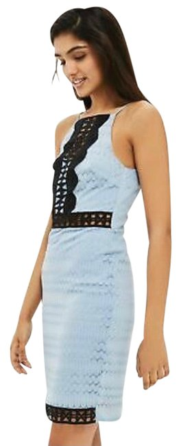 Item - Baby Blue and Black Lace Crochet Short Casual Dress Size 4 (S)