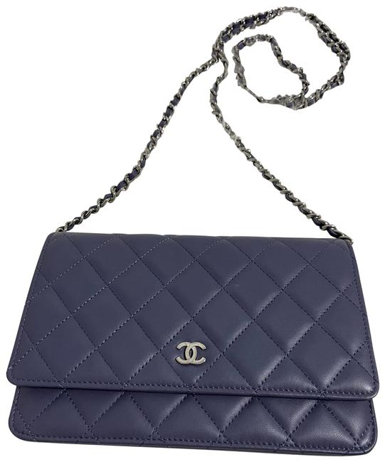 Item - Wallet on Chain Lavender Leather Cross Body Bag