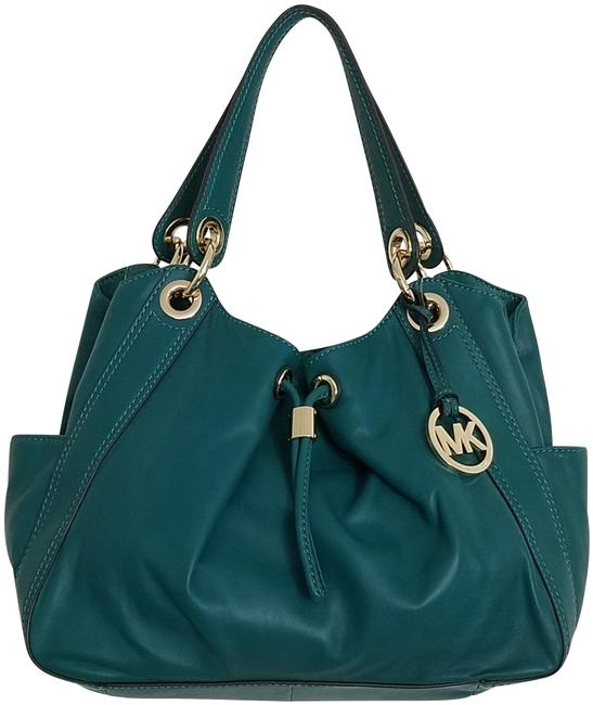 Item - Ludlow (New with Tags) Drawstring Shoulder Teal Deep See Green/Gold Leather Tote