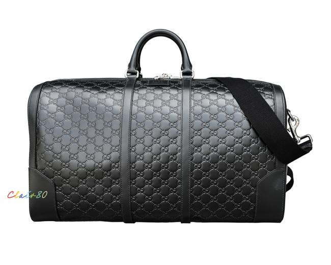 Item - Duffle 406381 Signature Large Black Leather and Gg Leather Weekend/Travel Bag