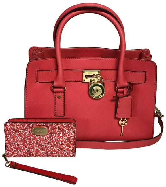 Item - Hamilton Purse and Wallet Red Watermelon Color Leather Satchel