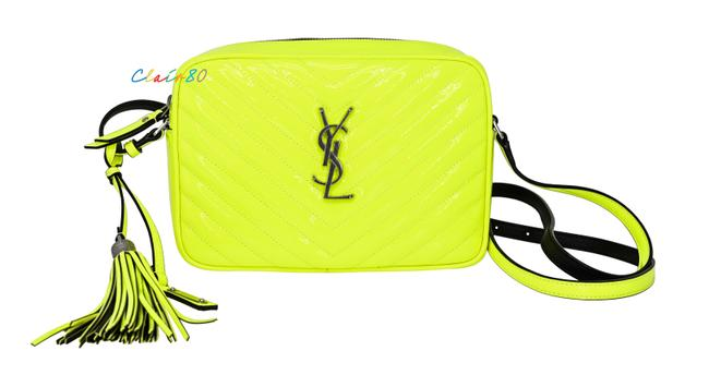 Item - Monogram Lou Camera Quilted Neon Yellow Patent Leather Cross Body Bag