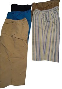 Capris blue, taupe, tan, black
