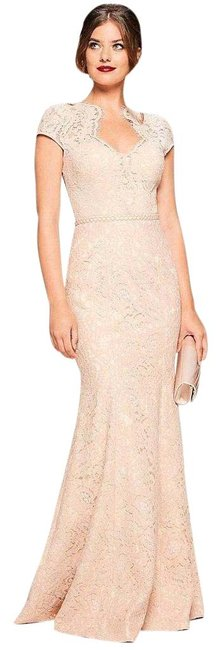 Item - Cream Pink Sweetheart Lace Mermaid Gown In Blush Long Formal Dress Size 6 (S)