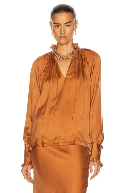 Item - Brown Toffee Ruched Front Long Sleeve Blouse Size 0 (XS)