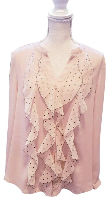 Item - Beige Taupe Ruffle Large Blouse Size 12 (L)