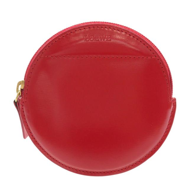 Item - Red Color Motif Coin Case Leather Ladies Wallet