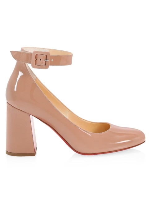 Item - Beige Soval Nude Classic Ankle Strap Chunky Heel 85mm Pumps Size EU 36.5 (Approx. US 6.5) Regular (M, B)