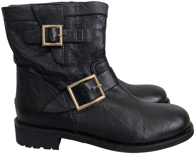 Item - Black Youth Vintage Leather Biker Buckled Ankle Boots/Booties Size EU 37 (Approx. US 7) Regular (M, B)