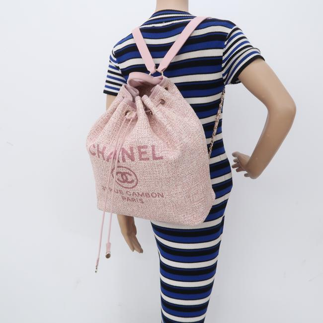 Chanel Deauville Bucket Pink Canvas Backpack Chanel Deauville Bucket Pink Canvas Backpack Image 12