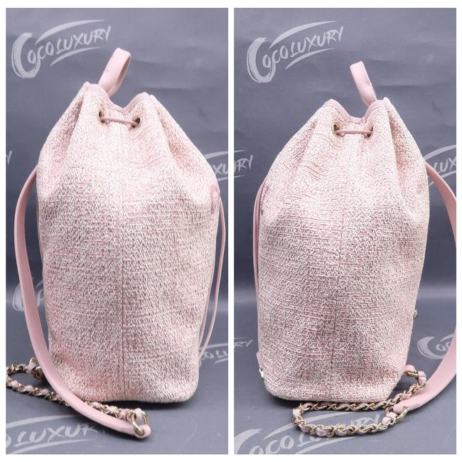 Chanel Deauville Bucket Pink Canvas Backpack Chanel Deauville Bucket Pink Canvas Backpack Image 3