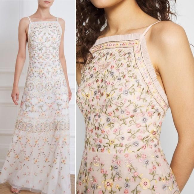 Item - White Pink Nwot Sweet Petal Embroidered Gown Long Formal Dress Size 4 (S)