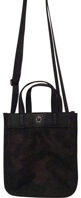 Item - Adjustable Strap Mini Tote Blacks with Browns Sateen and Leather Cross Body Bag