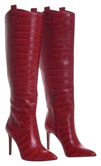 Item - Red Kervana Croc Embossed Leather Knee High Boots/Booties Size US 5 Regular (M, B)
