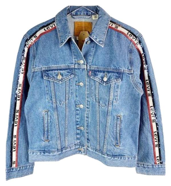 Item - Blue Sequin Logo Tape Spell Out Jacket Size 6 (S)