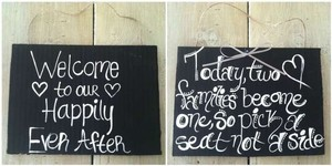 Love Always Set Of 2 Black & White Signs #100 Ceremony Decoration