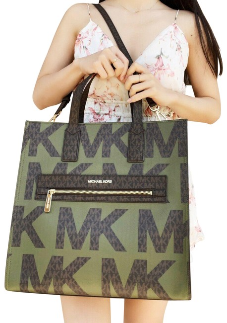 Item - Enly Large Ns Satchel Graphic Logo Brown Mk Multi Army Green Leather Tote