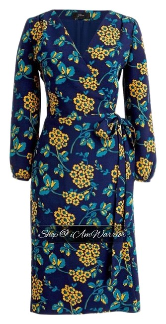 Item - Blue Teal Yellow Floral Crepe Wrap Mid-length Work/Office Dress Size 10 (M)