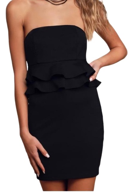 Item - Black Glam Up Strapless Ruffled Bodycon Mini Double-tiered Short Casual Dress Size 16 (XL, Plus 0x)