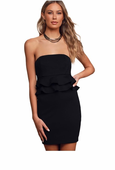 Item - Black Glam Up Strapless Ruffled Bodycon Mini Double-tieredt Short Cocktail Dress Size 12 (L)
