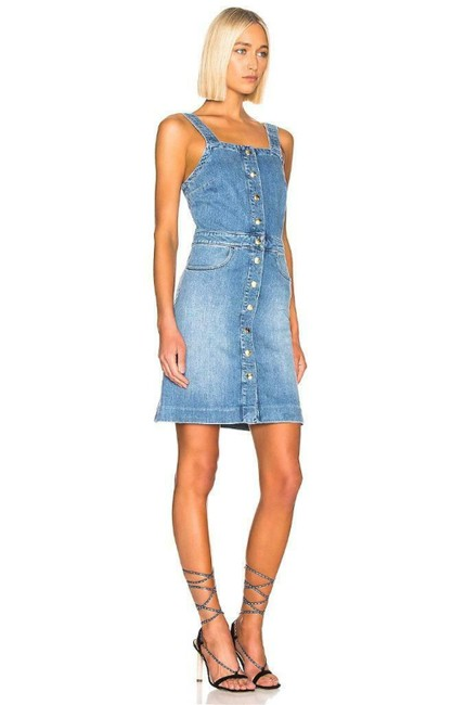 Item - Islet Blue Claire Stretch Denim Overall Short Casual Dress Size 6 (S)