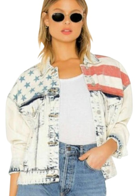 Item - Blue Red Unmet Expectations American Flag Print Distressed Jacket Size 8 (M)