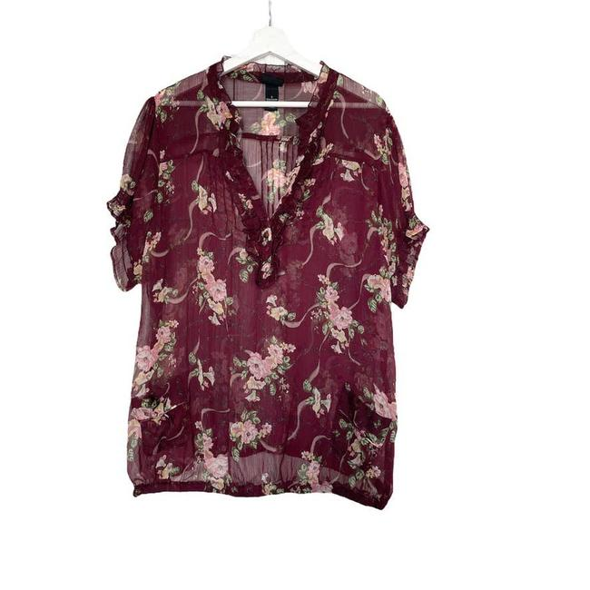 Item - Multicolor Ruffle Front Floral with Front Pockets Blouse Size 26 (Plus 3x)