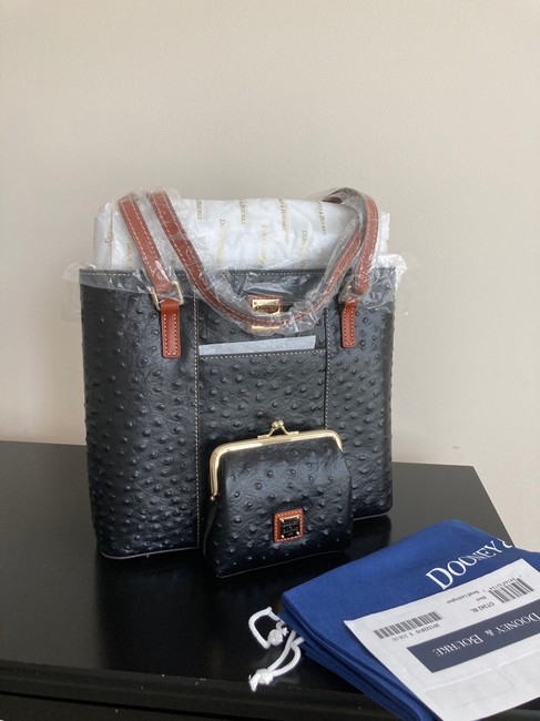 Item - Bag And Wallet Black Ostrich Leather Tote