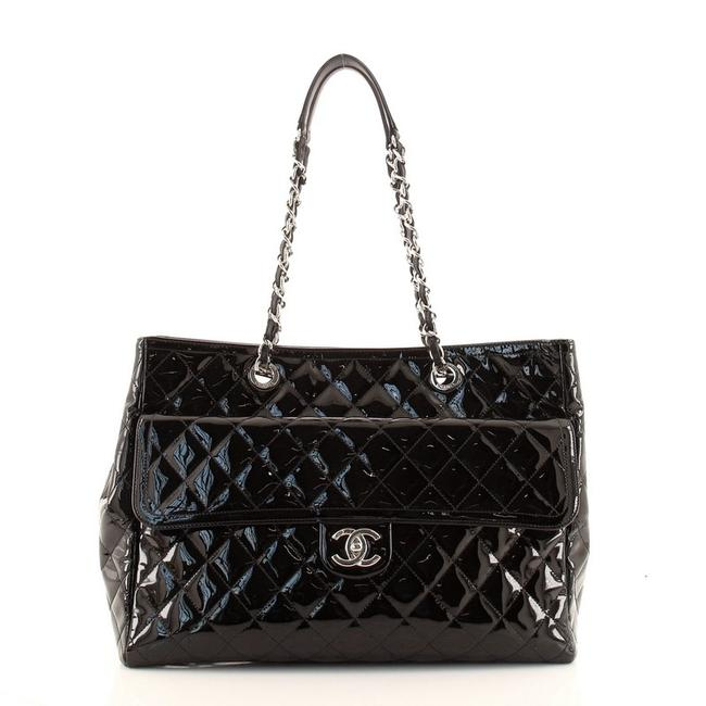 Item - Coco Shine Quilted Large Black Patent Leather Tote