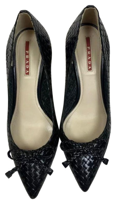 Item - Black Woven Leather Wedges Size EU 37.5 (Approx. US 7.5) Regular (M, B)
