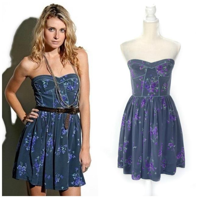 """Item - Multicolor Charlie"""" Silk A-line Strapless Short Night Out Dress Size 4 (S)"""
