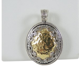 Konstantino Konstantino Sterling Silver 18K Gold Oval Hammered Pendant Enhancer - Retail $1450