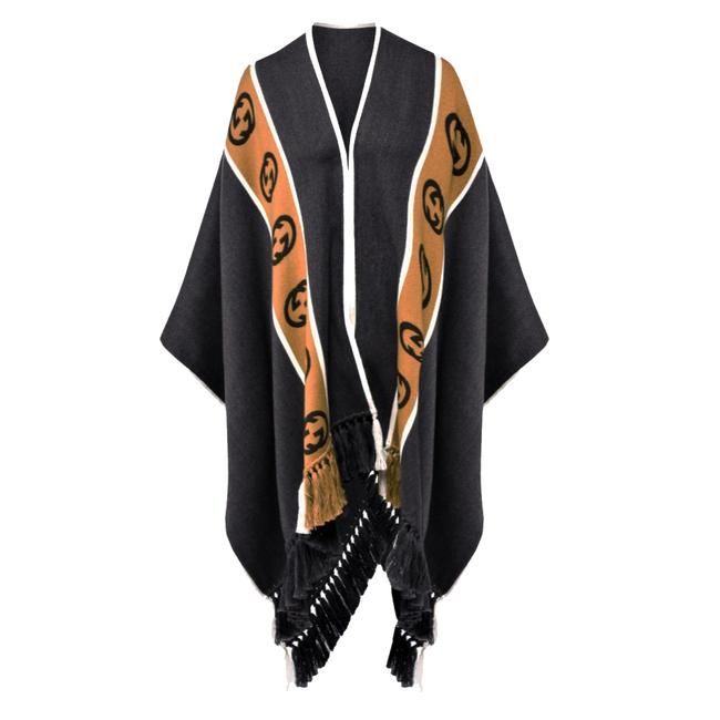 Item - Grey/ Brown Unisex 581603 1279 Wool with Interlocking Gg Poncho/Cape Size OS (one size)