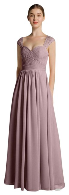 Item - Mauve Sweetheart Chiffon with Lace Cap Sleeves Long Formal Dress Size 8 (M)