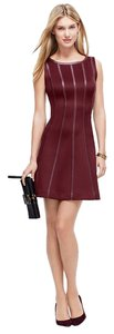 Ann Taylor Stripes Fit And Flare Trendy Leather-look Dress