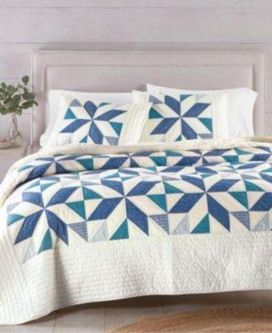 Item - Blue White Artisan Collection Sawtooth Star Twin Quilt Free Sham Other