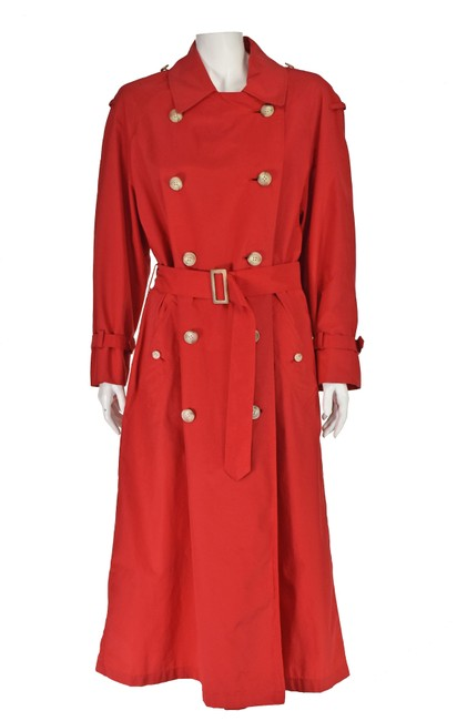 Item - Red Very Lightweight Silky Fabric Coat Size 4 (S)