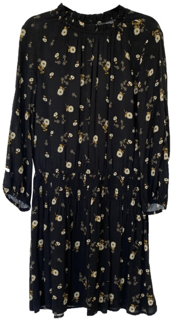 Item - Black and Yellow Leslie Floral Smocked-waist Short Casual Dress Size 4 (S)