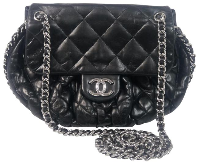 Item - Quilted Chain Around Black Lambskin Leather Cross Body Bag
