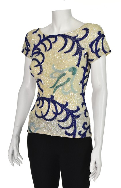 Item - Vintage Sequined and Beaded Ivory & Blue Top
