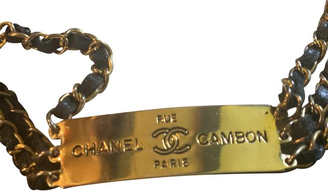 Item - Gold Chain Black Leather Canbom Rue Pairs Vintage 1995 Belt