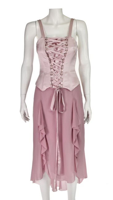 Item - Pink Silk Corset Top with Chiffon Skirt Mid-length Cocktail Dress Size 8 (M)